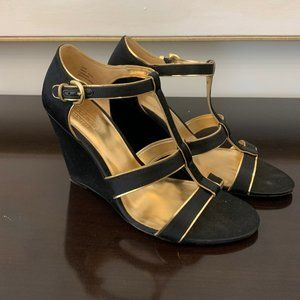 Coach Black and Gold Wedge Heels Size 6.5